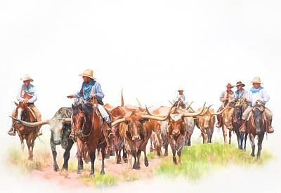Cattle Drive Poster by David and Carol Kelly