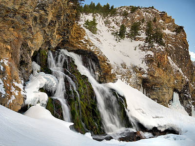 Cedar Creek Falls Winter Poster by Leland D Howard