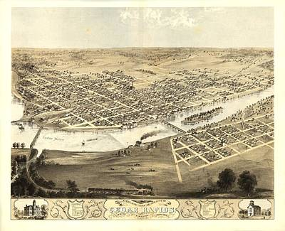 Cedar Rapids Iowa 1868 Poster by Mountain Dreams