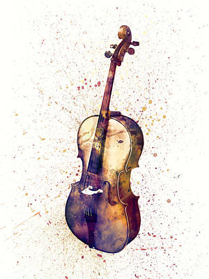 Cello Abstract Watercolor Poster by Michael Tompsett