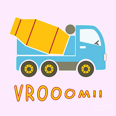 Cement Mixer Truck Poster by Gaspar Avila