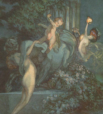 Centaur Nymphs And Cupid Poster by Franz von Bayros