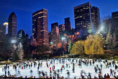 Central Park Skaters Poster by June Marie Sobrito