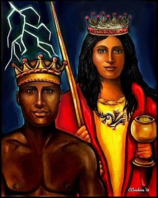 Chango And Saint Barbara Work In Progress Poster by Carmen Cordova