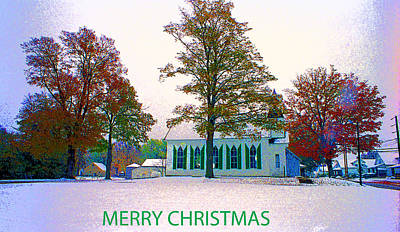 Chapel In Snow Christmas Card Poster by Paul Price
