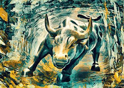 Charging Bull Poster by Sampad Art