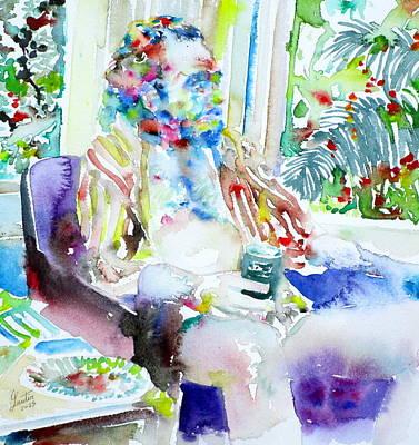 Charles Bukowski - Watercolor Portrait.5 Poster by Fabrizio Cassetta
