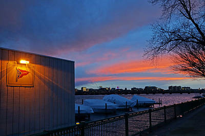 Charles River Boathouse At Sunset Boston Ma Poster by Toby McGuire