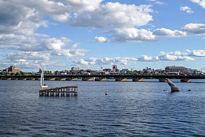 Charles River Boston Ma Crossing The Charles Citgo Sign Poster by Toby McGuire