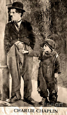 Charlie Chaplin And The Kid Poster by Al Bourassa