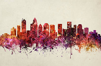 Charlotte Cityscape 09 Poster by Aged Pixel