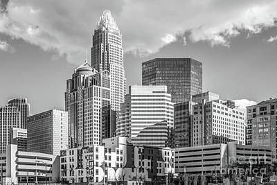 Charlotte Downtown Black And White Photo Poster by Paul Velgos