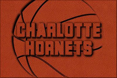 Charlotte Hornets Leather Art Poster by Joe Hamilton