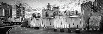 Charlotte Nc Black And White Panoramic Picture Poster by Paul Velgos