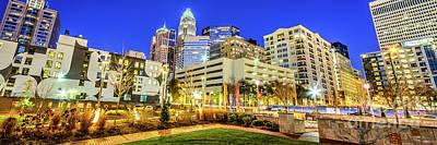 Charlotte North Carolina At Night Panorama Photo Poster by Paul Velgos