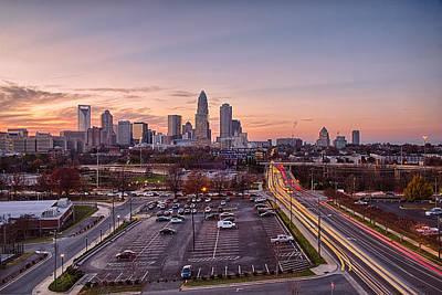 Charlotte North Carolinacity  Skyline At Sunset Poster by Alex Grichenko