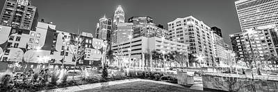 Charlotte Panorama Black And White Image Poster by Paul Velgos