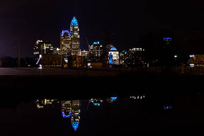 Charlotte Reflection At Night Poster by Serge Skiba