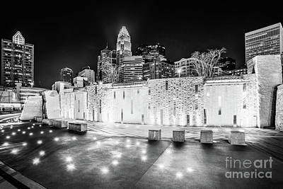 Charlotte Skyline At Night Black And White Photo Poster by Paul Velgos