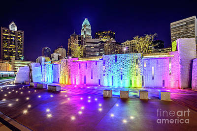 Charlotte Skyline At Night With Romare Bearden Park Poster by Paul Velgos