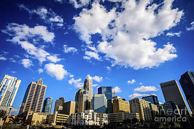 Charlotte Skyline Blue Sky And Clouds Poster by Paul Velgos