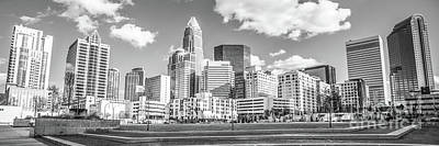Charlotte Skyline Panorama Black And White Image Poster by Paul Velgos