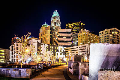 Charlotte Skyline With Romare Bearden Park At Night Poster by Paul Velgos