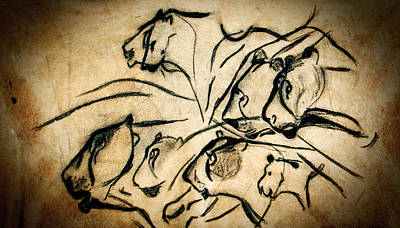 Chauvet Cave Lions Poster by Weston Westmoreland