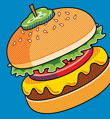 Cheeseburger On Blue Poster by Ron Magnes