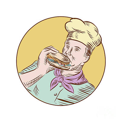 Chef Cook Eating Burger Etching  Poster by Aloysius Patrimonio