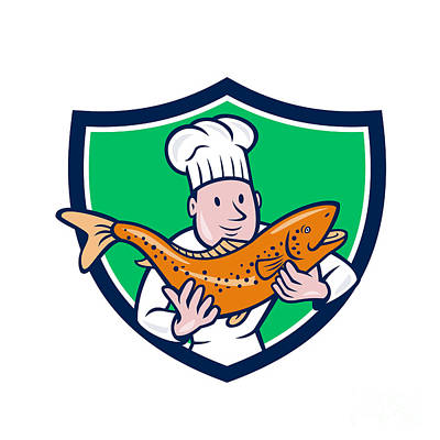 Chef Cook Holding Trout Fish Shield Cartoon Poster by Aloysius Patrimonio