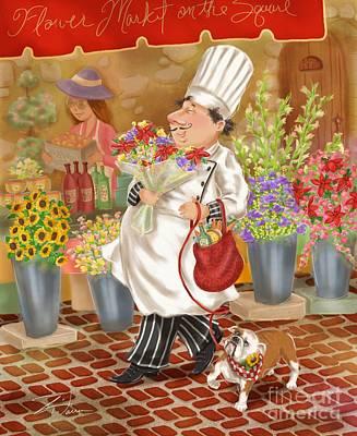 Chefs Go To Market II Poster by Shari Warren