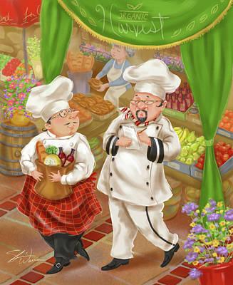 Chefs Go To Market IIi Poster by Shari Warren
