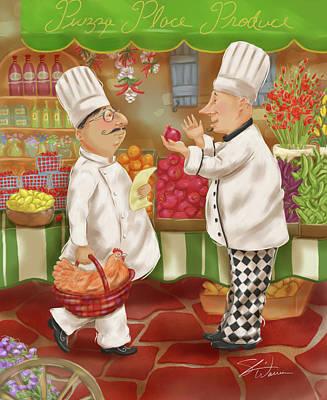 Chefs Go To Market Iv Poster by Shari Warren