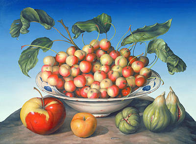Cherries In Delft Bowl With Red And Yellow Apple Poster by Amelia Kleiser