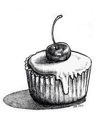 Cherry Cupcake Poster by Rebecca Barnes