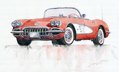 Chevrolet Corvette C1 1960  Poster by Yuriy  Shevchuk