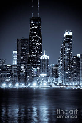 Chicago Cityscape At Night Poster by Paul Velgos