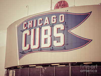 Chicago Cubs Sign Vintage Picture Poster by Paul Velgos