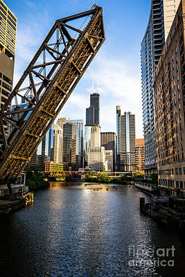 Chicago Downtown And Kinzie Street Railroad Bridge Poster by Paul Velgos