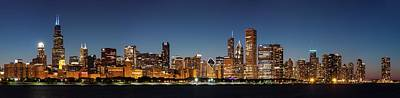 Chicago Downtown Skyline At Night Poster by Semmick Photo