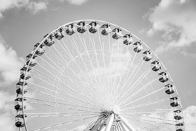 Chicago Ferris Wheel Black And White Photo Poster by Paul Velgos