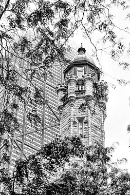 Chicago Historic Water Tower Fog Black And White Poster by Christopher Arndt
