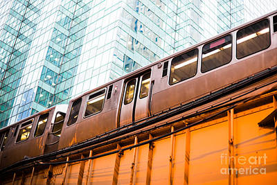 Chicago L Elevated Train  Poster by Paul Velgos
