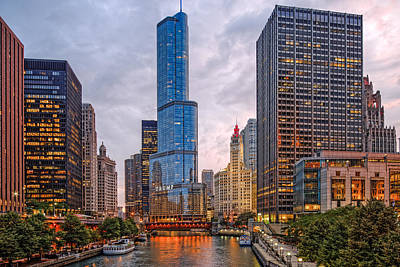 Chicago Riverwalk Equitable Wrigley Building And Trump International Tower And Hotel At Sunset  Poster by Silvio Ligutti