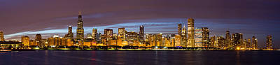 Chicago Skyline At Dusk Poster by Twenty Two North Photography