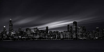 Chicago Skyline At Night Poster by Andrew Soundarajan