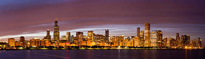 Chicago Skyline At Night Poster by Twenty Two North Photography