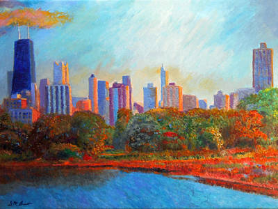 Chicago Skyline From The Lagoon Poster by Michael Durst