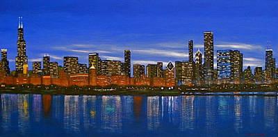 Chicago Skyline--nocturnal Glow Poster by J Loren Reedy